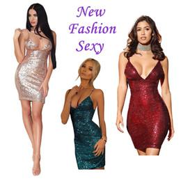 2017 Moda Sexy Summer Harness Perspective V-cuello Sexy Sling Lentejuelas Vestido de Las Mujeres Vestido de Lápiz Estilo Europeo Americano desde fabricantes