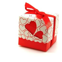 Wholesale Sweet Love Favor Box - 7 colors Love heart Candy Box Bridal Wedding Candy Packaging Box Creative Sweets Candy Boxes, 50pcs lot