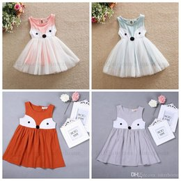 Wholesale Fox Dresses - Girls Dresses INS Baby Dress Summer Fox Dresses Kids Cartoon Sleeveless Lace Cotton Princess Dress Children Dresses Kids Clothing 2017 H601