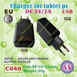 Wholesale Tablet Onda Charger - Wholesale-2pcs [C040] USB   5V,2A   EU power plug (Europe Standard) Charger or Power adaptor for tablet pc;onda,ainol,cube,sanei