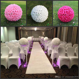 "Wholesale Large Silk Rose Balls - 20"" 50 cm Super Large Size White Artificial Rose Silk Flower Kissing Balls For Wedding Party Centerpieces Decorations supplies"