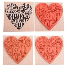 Wholesale Wooden Stamp Heart - Wholesale- Love Heart Stamps Blocks Wooden Rubber Craved Printing Stamp Wood DIY Fashion Craft School Scrapbooking Decor