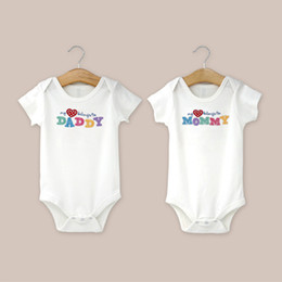 Wholesale Big Purchase - AbaoDo big purchase baby bodysuit I love Dad & Mom rompers summer short sleeve infants clothing 100 sets lot