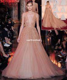 Wholesale Ellie Saab Evening Dresses - Jennifer Lopez Ellie Saab Oscar Evening Dresses Deep V Neck Appliques Pearls Sexy Back Formal Red Carpet Dresses Custom Made