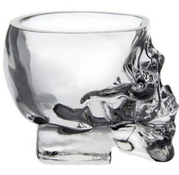 Wholesale Crystal Skull Head Whiskey Glass - Hot Sales New Crystal SKULL Head Vodka Whiskey Shot Glass Cup Drinking Ware Home Bar Cup Mug EHO TOP1770ZZ