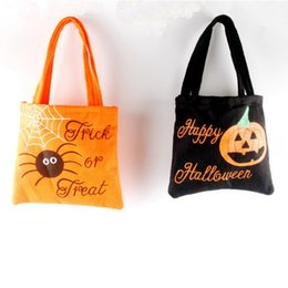 Wholesale Wholesale Fabric Handbags Gifts - Halloween Handbags Non-woven Fabric Kids Gifts Sack Bags Candy Bags Pumpkin Devil Ghost Spider Cartoon Reticule Party Decoration Supplies