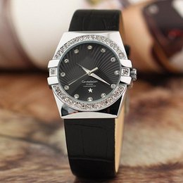 Wholesale Nude Ship Girls - Free Shipping New Women Watch Luxury Top brand watches Rhinestone Dial Genuine Leather Strap Quartz Elegant Wristwatches for lady girl 2017