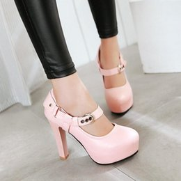 Wholesale Chunky Heel Party - Women Fashion High Heel Dress Shoes Chunky Heel Platform Buckle Straps Shallow Mouth Round Toe Waterproof Pumps Size 34-43