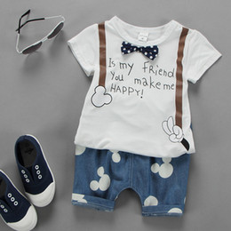Wholesale Tie Cartoon Clothing - 2017 korean style toddlers infant boys clothing set summer cartoon mickey bow tie t-shirt+denim blue shorts 2 pcs