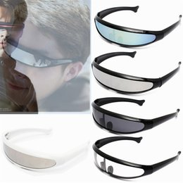 Wholesale Wholesale Conjoined - NEW Cool men's sunglasses fashion X-men Individuality Laser Outer Space Robot Conjoined Mercury Lens Sun Glasses For Outdoor Sports   Travel