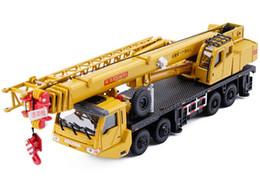 Wholesale Alloy Construction - 1 55 alloy Sliding construction crane model Toys Heavy crane concrete pump truck children's educational toys