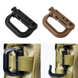 Wholesale Wholesale Hiking Hooks - Wholesale-D Shape Climbing Carabiner Screw Lock Bottle Hook Buckle Hanging Padlock Keychain Camping Hiking Snap Clip free shipping
