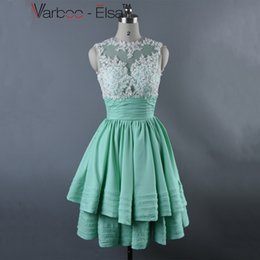 Wholesale Elegan Fashion - VARBOO_ELSA 2017 Mint Green Prom Dresses Crystal Applique High Neck Short Prom Dresses Robe De Soiree Knee Length Dress Party Evening Elegan