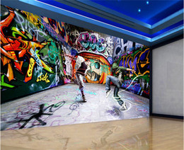 Wholesale Korean Street Fashion - Modern fashion mural dancing youth street dance graffiti backdrop TV sofa non-woven wallpaper fabric wallpaper painting