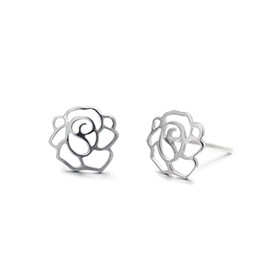 Wholesale Cubic Zirconia Stud Earrings Cheap - Women's Earrings Cheap Stud Earrings For Women New Flower Design 925 Sterling Silver Earrings Stud EB00859