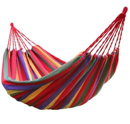 rainbow beds Promo Codes - Travel Camping Hammock Camping Sleeping Bed Travel Outdoor Swing Garden Indoor Sleep Rainbow Color Canvas Hammocks about 190cm*80cm