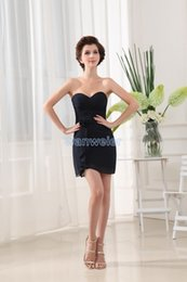 Wholesale Vestidos Formales - free shipping 2018 new design vestidos formal dress formales maid black short party gowns sweetheart custom Bridesmaid Dresses