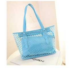 Wholesale Transparent Tote Bags Wholesale - 6 Colos Fashion Bags Totes Cross Body Candy Colors Wave Point PVC Transparent Jelly Beach Bags Mother Package With High Quality