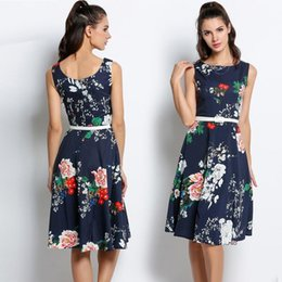 Wholesale Waist Belts For Dresses - Vintage Style Floral Print Swing Party Dresses With Belt Slim A Line Women O-Neck Sleeveless Sundress Mid-Calf High Waist For 2017 Summer