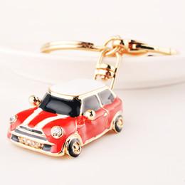 Wholesale Wholesale Rhinestone Handbags Purses - Bing Bling Crystal Rhinestone Car Design Metal Keychain Keyring Car Keychains Purse Charms Handbag Pendant Best Gift