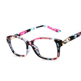 Wholesale Fake Glasses Frames - Wholesale- Fashion Rhinestone Floral Eyeglasses Frames Clear Lens Fake Optical Glasses Leopard Eyewear Spectacle Frames For Women