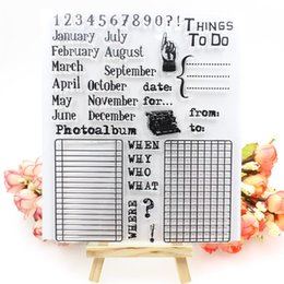 Wholesale Paper Calendars - Wholesale- 1 sheet DIY Calendar Design Transparent Clear Rubber Stamp Seal Paper Craft Scrapbooking Decoration