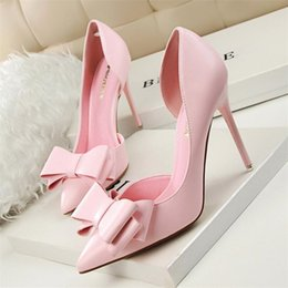 Wholesale Thin Nude Women - Spring Summer Women Pumps Sweet Bowknot High-heeled Shoes Thin Pink High Heel Shoes Hollow Pointed Stiletto Elegant 22 Colour
