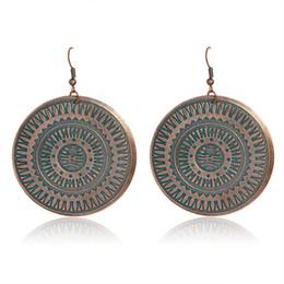 Wholesale large gold stud earrings - Large Disk Totem Drop earrings Vintage Bohemia Ancient bronze Retro earrings Dangling earrings for women Turkish jewelry