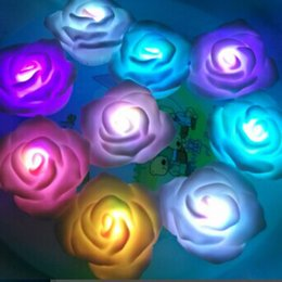 Wholesale Fancy Candles - Fancy Colorful Changing LED Rose Flower Water-proof Floating Tea Lights Electric Candles Wedding Proposal Decoration Christmas Valentine's