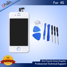 Wholesale Iphone 4s Glass White - For White iPhone 4S Full Complete LCD Screen Front Display Digitizer Glass Screen Assembly With Open Tools & Free Shipping