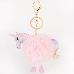 Wholesale Handbags Charms - Rainbow Plush Unicorn Pendant Bag Charms Handbag Accessory Bag Charms Handbag Accessory Cute Horse Fur Keychain