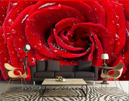 Wholesale Tv Wall Drop - Modern simple water drops red roses fashion TV background wall 3d murals wallpaper for living room