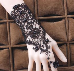 Wholesale Lace Bracelets Beads - 2017 Women Gothic Black Beads Lace Vintage Bracelets Lady Party Dress Jewelry Rose Flower Adjustable Ring White Bridal Bracelets 10PCS
