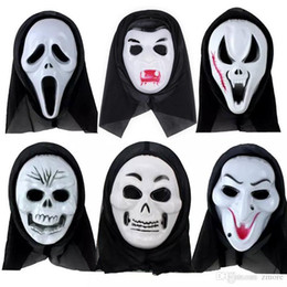 Wholesale Ghost Scream Mask - Terrorist Masks Halloween Horror Ghost Screaming Skeleton Halloween grimace mask Skull Mask Make up the party Wholesale Free Shi
