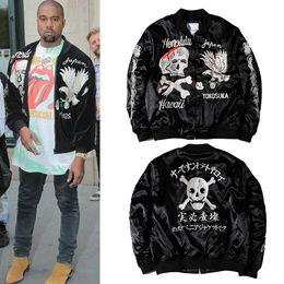 Wholesale Varsity Jackets Hoodie - Kanye West Black Bomber Jacket Skull Eagle Letters Embroidery Hip Hop Jacket Men's Long Sleeve Zip Hoodie Coat Varsity Jackets OSG0807