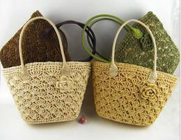 Wholesale Crochet Handbags Wholesale - Flower Straw Braid bags New Fashion Crochet Beach bags Big Girls Handbag Rattan Straw Bag 4 Colors C1025