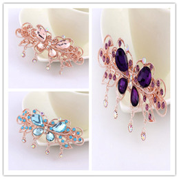 Wholesale Large Rhinestone Flower Clips - Fashion Butterfly Flower Hair Accessories Rhinestone Elegant Butterfly Flower Shaped Hairpins Large Colorful Crystal Bride Hair Clips