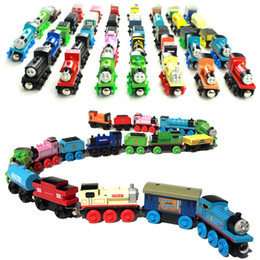 Wholesale Toy Trains Christmas Wholesale - Kids Toys Wooden Engines&Train Cars Cartoon Collection Railway Trains Model Baby Christmas Gifts 48 styles C2411