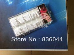 Wholesale Uv Nails Cover Gel - Wholesale- 100pcs White Tips Full Cover False French Finger Acrylic Gel UV Tools Box Package Nail Art Salon Design Manicure