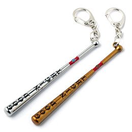 Wholesale Baseball Bat Gifts - Suicide Squad Moive Keychains Jewelry Harley Quinn Baseball Bat Alloy Key Rings & key Chain For Gift