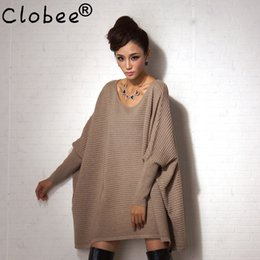 Wholesale Poncho Tricot - Wholesale- 2017 Tricot women sweaters pullovers female poncho cloak autumn winter pull femme Tops long mantle batwing sleeve Sueter VR20