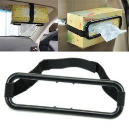 Wholesale Auto Tissue Box Holder - Wholesale-Hot Sale Black Portable Auto Car Sun Visor Tissue Box Holder Paper Napkin Seat Back Hanging Bracket