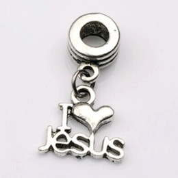 "Wholesale Beads Jesus Bracelets - MIC .50pcs lot Dangle Ancient silver ""I Love Jesus"" Religious Charm Big Hole Beads Fit European Charm Bracelet Jewelry 23x16mm"