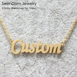 Wholesale Gold Name Plates - Romantic Gift 316L Stainless Steel Custom Personalized Name Choker Gold Plated Handwriting Signature Customized Necklace