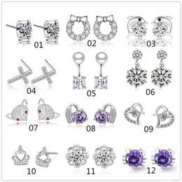 Wholesale 925 Crown Earrings Wholesale - Mix style 925 sterling silver plated stud earrings heart crown cross charm Earrings for women jewelry