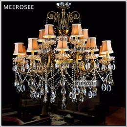 HEISS! Große Kristall-Kronleuchter Leuchte Antik Messing Große Lüster Kronleuchter Lampe mit Lampenschirm MD8504-L15 von Fabrikanten