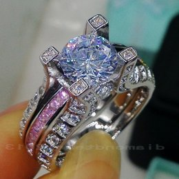Wholesale Silver Rings Pink Diamonds - Fine Wholesale Free shipping Retro 10kt white gold filled GF pink sapphire Gem Simulated Diamond Engagement Wedding Ring set gift