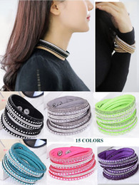 Wholesale Wholesale Wraps - Women Crystal Rhinestone Slake Deluxe Leather Wrap Wristband Cuff Punk Bracelet Bangles Fit Party Best Gift 15 colors