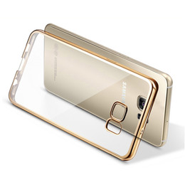 Wholesale Gild Phone - Silicone Clear Case For Samsung Galaxy S7 S7 Edge Plating Gilded TPU Phone silicone soft Back Case Cover For Samsung C7 C9 Pro