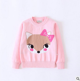 Wholesale Jumper Baby Animal - Kids sweater baby little girls cute BOWS fox princess pullover child cartoon knitting long sleeve jumper autumn winter kid clothing T0689